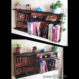 ★男前インテリアに合う色々飾れるシェルフ&赤レンガ調背板付き★ラック 飾り棚 (家具)