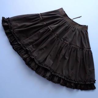 フォクシー(FOXEY)の■FOXEY NY■ 38 チュールティアード 黒 フレアスカート フォクシー(ひざ丈スカート)