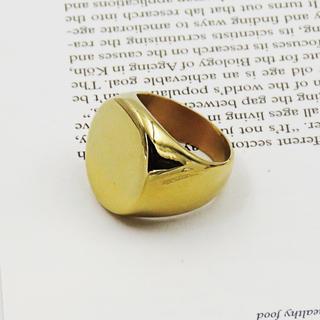 リング 指輪 印台 ゴールド ステンレス サークル シグネット 鏡面 メンズ(リング(指輪))
