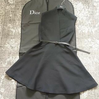 クリスチャンディオール(Christian Dior)のDIOR カシュクールデザイン ベルトつきワンピース 38(ひざ丈ワンピース)