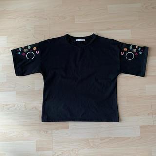 chambre de charme - 袖刺繍 黒Tシャツ オーバーサイズ
