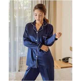送料無料 !! ルームウェア パジャマ サテン シルク風 長袖 上下セット 新品(ルームウェア)