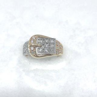 天然ダイヤモンド0.5ctupプラチナ&イエローゴールドリング(リング(指輪))