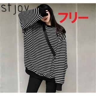 フリーサイズ オーバーサイズ ボーダー 韓国で話題 ロングTシャツ 薄手
