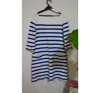 ムジルシリョウヒン(MUJI (無印良品))の無印 Tシャツ ボーダー ワンピース バスクシャツ 無印良品 青 白(ひざ丈ワンピース)