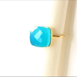 インドジュエリー★ブルーカルセドニーリング★シルバー925ゴールドメッキ海空色(リング(指輪))