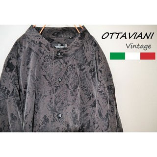 L 総柄 ノーカラー ポリシャツ ビッグシルエット オッタビアーニ イタリア