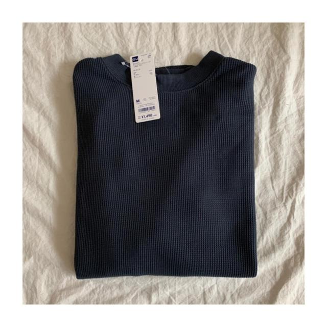 GU(ジーユー)のGU ジーユー ワッフルロングスリーブT ブルー Mサイズ レディースのトップス(Tシャツ(長袖/七分))の商品写真