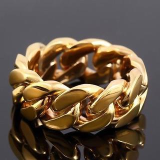 マイアミキューバン リング YG イエローゴールド USラッパー 幅10mm (リング(指輪))