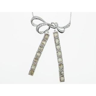 【K18WG】3.800ct UP ダイヤモンドネックレス(ネックレス)