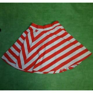 ボーダー柄  台形スカート(ミニスカート)