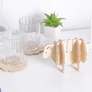 ひつじさん木製コースター★新品 ポイント消化 インテリア コップ