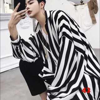 43 メンズ ストライプ シャツ ドルマン型 おしゃれ 韓国ファッション