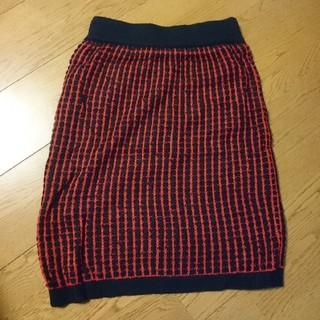 ロデオクラウンズワイドボウル(RODEO CROWNS WIDE BOWL)の再値下げ!RCWB ニットスカート 赤×紺 M 新品(ひざ丈スカート)