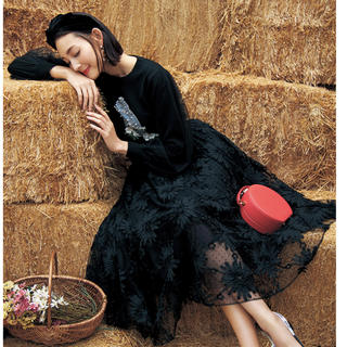 チェスティ(Chesty)のチュール 刺繍スカート ブラック(ロングスカート)