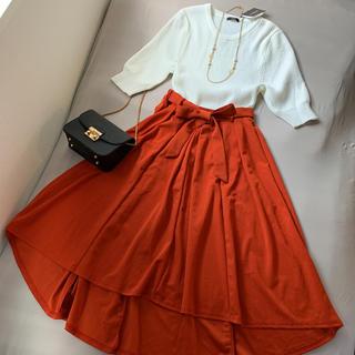 しまむら - ★コーデセット★ラメ入り五分袖ニット&リボン付きフィッシュテールスカート
