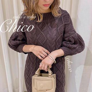 who's who Chico - 最新作🌷¥8690【Chico】バックラメリボンケーブルニットチュニック