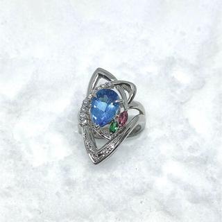天然ブルートパーズ2.95ct プラチナリング(リング(指輪))