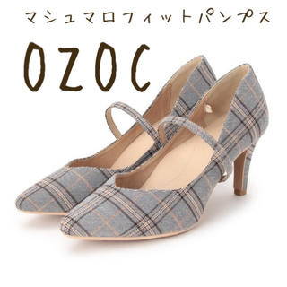 OZOC - OZOC チェック柄 マシュマロフィットパンプス グレー オゾック 23.5 M