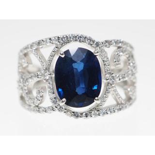 【SP2.046cts D0.56cts】PT900 サファイア・ダイヤモンドリ(リング(指輪))