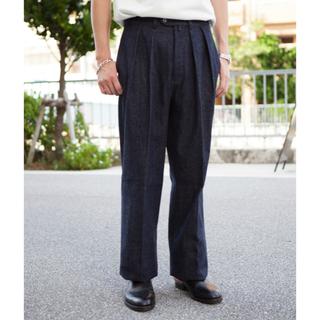 コモリ(COMOLI)のOne Wash Denim wide 2タックワイドデニムパンツ(デニム/ジーンズ)