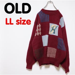 Santa Monica - USED OLD 古着 セーター  ニット  デザイン クレイジー レトロ 刺繍