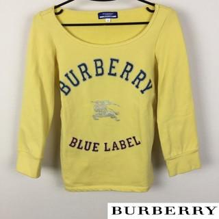 バーバリーブルーレーベル(BURBERRY BLUE LABEL)の美品 BURBERRY BLUE LABEL 7分袖スウェット イエロー(トレーナー/スウェット)