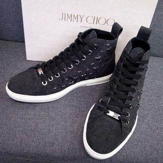 ジミーチュウ(JIMMY CHOO)の正規品☆ジミーチュウ スタッズ スニーカー シューズ ラメ 黒 スター 靴(スニーカー)