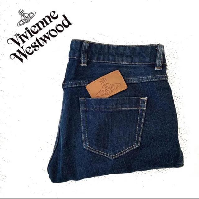 Vivienne Westwood(ヴィヴィアンウエストウッド)のヴィヴィアンウエストウッド  レザー パッチワーク デニム ジーンズ ジーパン レディースのパンツ(デニム/ジーンズ)の商品写真