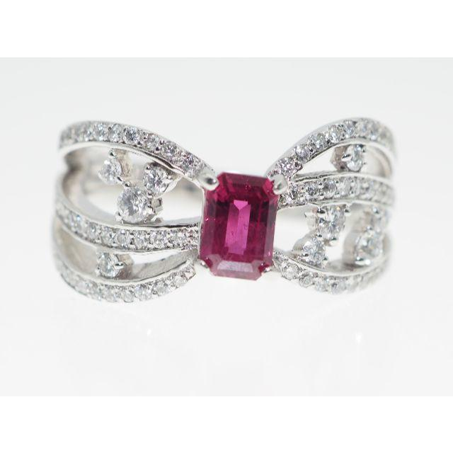 【R0.758Cts. D0.480Cts】PT900 ルビーダイヤモンドリング レディースのアクセサリー(リング(指輪))の商品写真