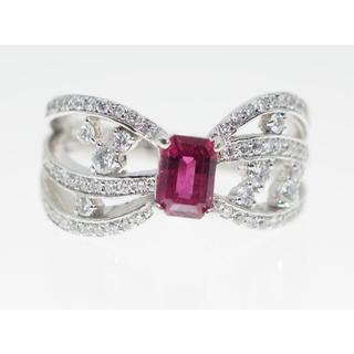 【R0.758Cts. D0.480Cts】PT900 ルビーダイヤモンドリング(リング(指輪))