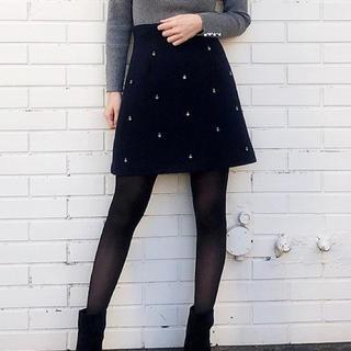 トランテアンソンドゥモード(31 Sons de mode)のビジュー台形スカート.*・゚(ミニスカート)
