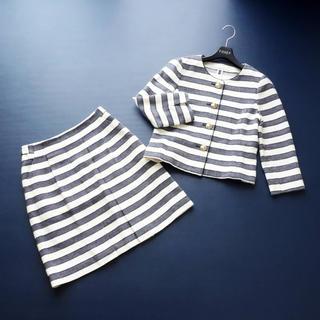 ANAYI - ■アナイ■ 38 濃紺ボーダー ツイード スカートスーツ ANAYI