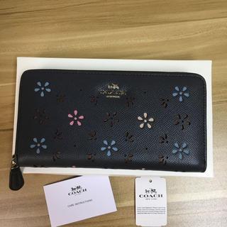 COACH - COACH クロスグレインレザー 花柄 F31164長財布 ミッドナイトネイビー