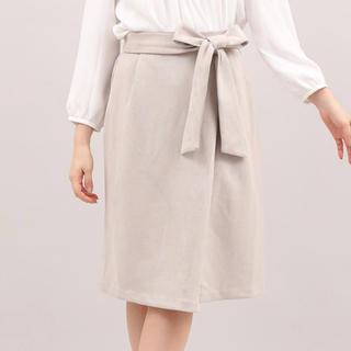 CLEAR IMPRESSION - 週末セール【未使用 タグ付】サンドベージュ スエード タイト スカート リボン