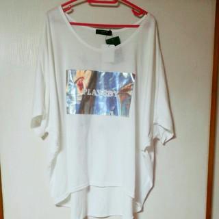 2393 PLAYBOY カットソー Tシャツ 白 ホワイト 3L 大きいサイズ(Tシャツ(半袖/袖なし))