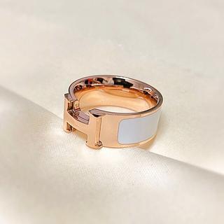リング H アルファベット ローズゴールド ホワイト レディース(リング(指輪))