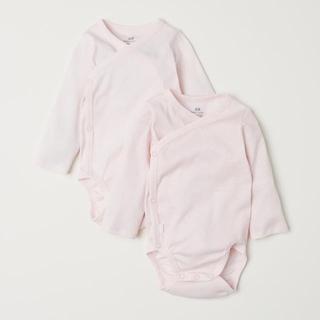 H&M - H&M ロンパース 肌着 ボディスーツ ラップ 60 ピンク 2枚セット 新品