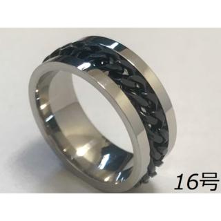 【新品】シルバーブラック レディース 指輪 16号(リング(指輪))