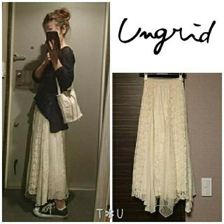 Ungrid - ungrid レースコンビ刺繍マキシスカート