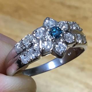 アトリエまりこ様専用 綺麗なブルー❗️トリートメント ダイヤモンド リング 指輪(リング(指輪))