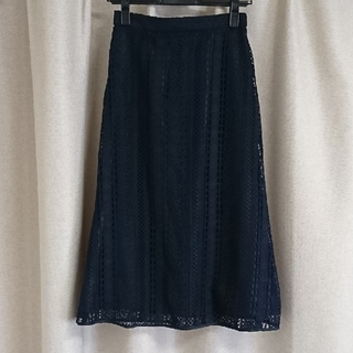 PROPORTION BODY DRESSING - ネイビー レース フレアスカート
