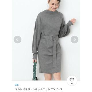 ViS - ビス ベルト付ニットワンピース