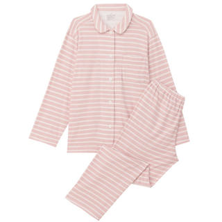 MUJI (無印良品) - 無印良品『脇に縫い目のないパイル パジャマ(ピンク×ボーダー Mサイズ)』