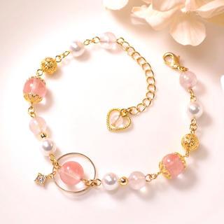 193*フープが可愛いローズクォーツの天然石ブレスレット*cherry pink