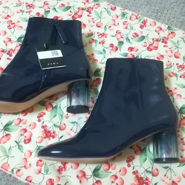 ZARA(ザラ)の送料無料 ☆ ZARA ザラ ☆ スケルトンヒール エナメル ブーツ ブーティ レディースの靴/シューズ(ブーツ)の商品写真