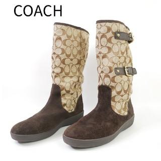 コーチ(COACH)の良品 COACH コーチ 9 1/2 スウェード コーチ柄 ブーツ(ブーツ)