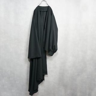 ノーカラージャケット 羽織 アシンメトリー ブラック
