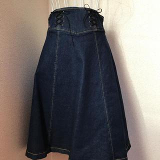 新品未使用 RENAIKEIKAKU 黒リボンレースアップデニムスカート(ロングスカート)