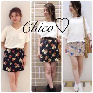 フーズフーチコ(who's who Chico)の新品✨Chico 花柄ボックススカート    インナーパンツ付き♪(ミニスカート)